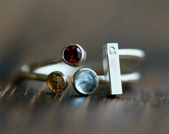 Elegant Three Birthstone & Initial Stacking Ring Set- Two Rings in Silver or GF Bands w/ Custom Initial Bar w/3 Gemstones By Pale Fish, R014