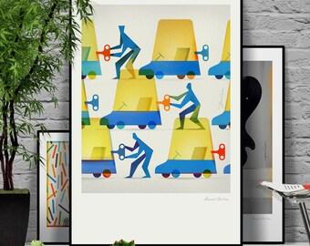 Teamwork. Original illustration art poster giclée print signed by Paweł Jońca.