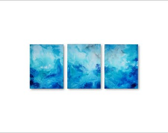 Abstract Canvas Art - 3 piece wall art, office art, large canvas art, simple abstract art, ORIGINAL ART painting, beautiful abstract art