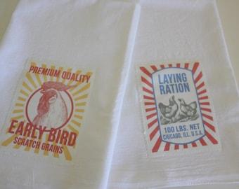 Chicken Grain Sack Flour Sack Towels - Farmhouse Tea Towels