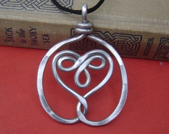 Big Celtic Embraced Heart Pendant Statment Necklace Gift for Her Aluminum Celtic Jewelry, Celtic Heart Necklace Gift for Women, Big Heart