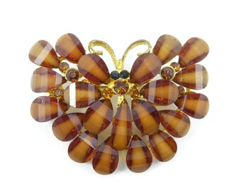 Vintage, Butterfly Brooch, Brown, Cluster, Synthetic, Gold Tone