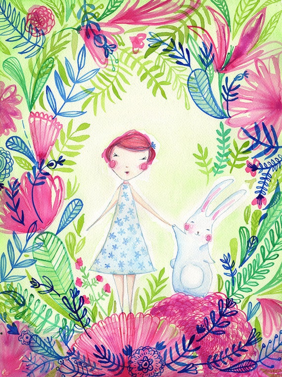 Camille 's Friend Thumper the Bunny Archival Art print Kids Decor Childrens Room Wall Art