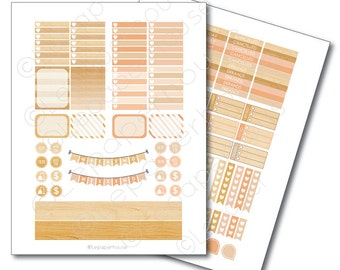 Wood Printable Planner Sticker Set, Erin Condren Life Planner, Instant Download