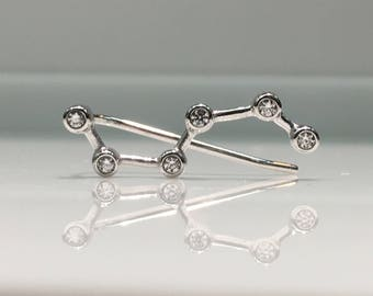 Big Dipper, Ursa Major, Constellation Earring, Celestial Jewelry, Constellation Jewelry, in Silver and Cubic Zirconia