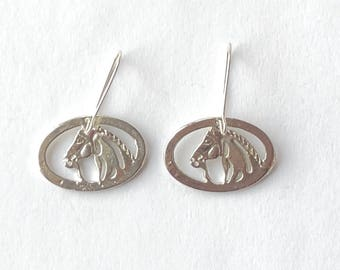 Silver Horse Profile Earrings