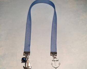 Anchor Bookmark~Sailboat Bookmark-BOOK CLUB GIFT-Ribbon bookmark-Sailing Bookmark-Beach bookmark-Nautical bookmark-boating-anchor charm