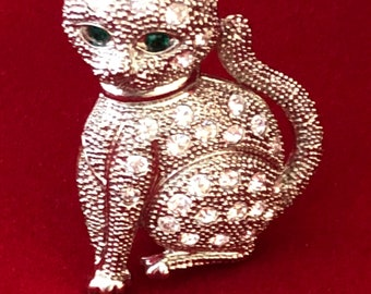 Vintage rhinestone encrusted Egyptian cat