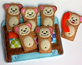 5 little monkeys Quiet book page - finger puppets - toddler learning toy - educational gift - church quiet toy - preschool toy - QB124