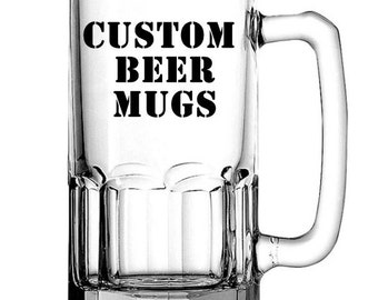 Custom Beer Mugs, Personalized Beer Mug, Large Beer Mug, Beer Glass