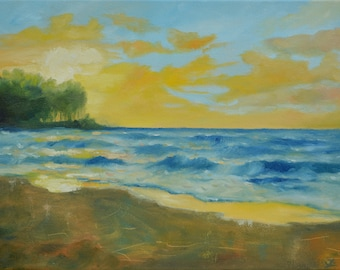 Oil Painting, Seascape oil painting, Landscape painting, Oil painting original,  Seascape wall art, Sunset painting, Sea wall art