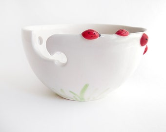 Ladybug Ceramic Yarn Bowl, Knitting Bowl, Crochet Bowl , with Red Ladybugs. Ready To Ship