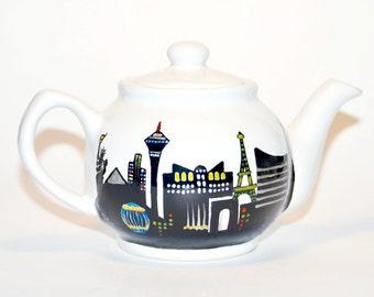 Las Vegas Teapot - Handpainted, Las Vegas Sin City, Wedding Gift, Nevada Tea Pot