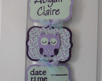 Girl Baby Shower Banner - Girl Hospital Banner -  Baby Girl Owl Hospital Banner - 3 cards