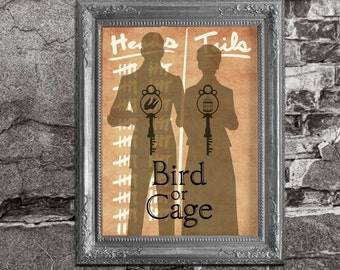 Bioshock Lutece Twins Heads or Tails Bird or Cage - Bioshock Infinite Inspired - Movie Poster Art