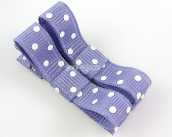 Polka Dot Baby Hair Clips French Lilac Purple - Set of 2 - Matching Pair Alligator Barrettes for Babies Toddlers Girls Polka Dot Tuxedo Bow