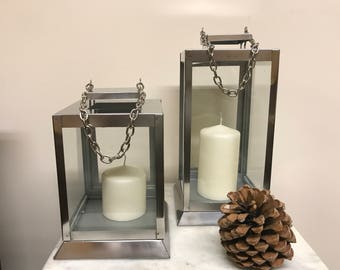Chain Stainless Steel Lantern, Candle lantern, Sliver