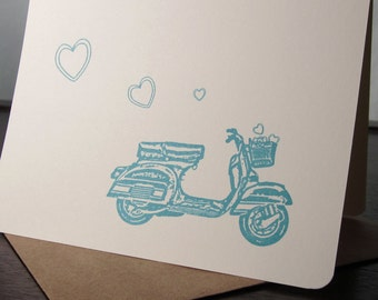 Scooter and Hearts - 12-Pack Gocco Screen-Printed Cards