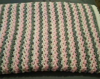 """Handmade Crocheted Baby Blanket, Pink, Gray, White, ~ 45"""" x 55"""""""