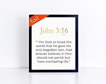 Bible Verse Foil Typography Art Print - Home Decor & Gift Prints,  8x10