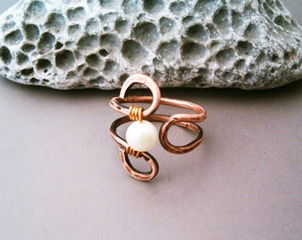 Wire Wrapped Adjustable Hammered Copper Ring - wire wrapped ring handmade