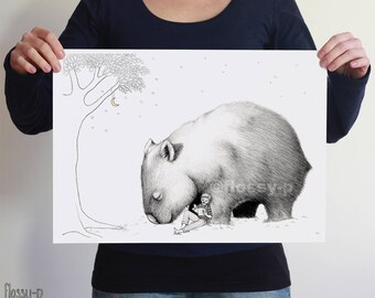 Giant Wombat & Book Boy, Large A2 Art Print, Poster by flossy-p. Australian animal, gift.