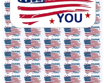 "50 American Flag Thank You Envelope Seals / Labels / Stickers, 1"" by 1.5"""