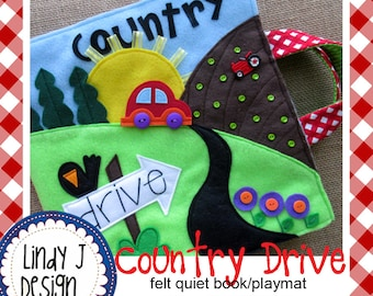 Country Drive QUIET BOOK Playmat .PDF Pattern