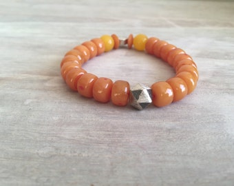 Amber Bracelet with Sterling Silver Hexagon Bead, Men's Bracelet, Men's Amber, Amber Stone