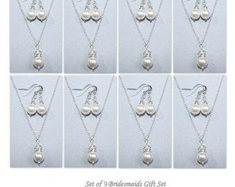 Set of 9 Bridesmaid Jewelry Set,  Swarovski White Pearl Jewelry Set, Wedding Jewelry Set, Wedding Jewelry Set, Set of 9 Bridesmaid Gift