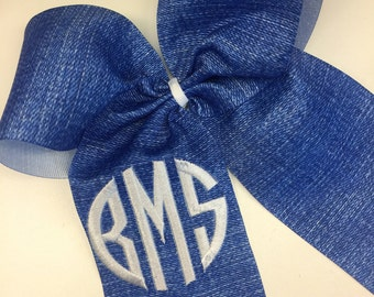 Thread Embroidered, Hair Bow, Cheer Bows, Any Initials, Denim Blue, Jean Custom, Monogram, Monogrammed, Rustic Country, Cowgirl Horses, Kids