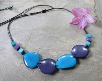 Purple and Aqua Blue Tagua Necklace, Ecofriendly Necklace, Purple Statement Necklace, Tagua nut jewelry, Tagua nut statement necklace