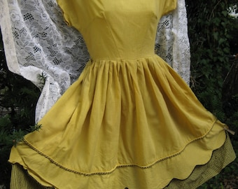 Robe en coton noir et jaune d'or, Vichy vintage pays ouest / sud-ouest robe rockabilly, robe en coton printemps été automne