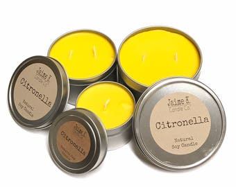 Set of 3 Citronella Candle Tins 100% Soy Wax Mosquito Repellent
