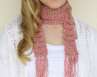 Pink Skinny Scarf, Women's Knit Scarf, Hand Knit Skinny Scarf, Scarf with Fringe, Cotton, Spring Scarf, Women's Scarves, READY TO SHIP
