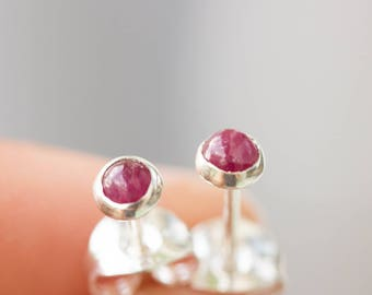 Ruby stud earrings, dainty studs, sterling silver or 14k gold filled, July Birthstone