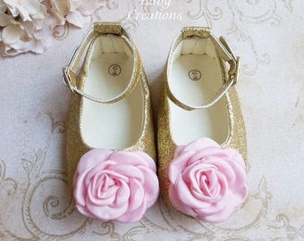 First Birthday Outfit Girl Pink and Gold, One Year Old Girl Birthday Outfit, Pink and Gold Baby Shoes, 1st Birthday Shoes