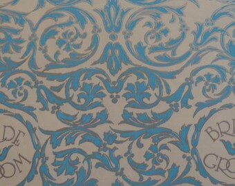Vintage 1970s Wedding Wrapping Paper- Turquoise & Silver for the Bride and Groom-1 Sheet Gift Wrap