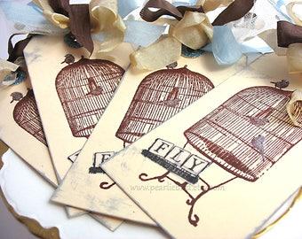 Fly with Spirit Bird tags~set of 4~hand stamped~brown~blue~cream~birdcage~bird lover~caged bird