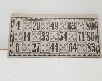 12 Vintage 1930s Black and Tan Lotto Cards for altered art