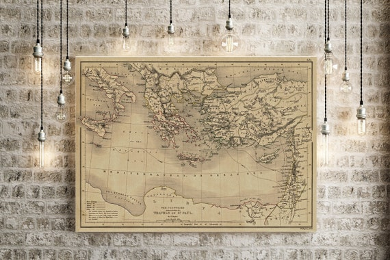 Biblical Map 1847 Map of Saint Paul Travels Biblical Region Antique Restoration decor Style Christian Wall Map Vintage Map Home Gift Idea