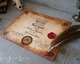 Personalized Wizard House certificate/diploma - HP - R - Wax seal