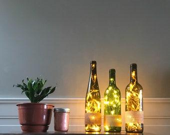 Burlap Wine Bottle Light