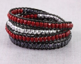 Red Wrap Bracelet Skinny Wrap Bracelet Black Leather Wrap Bracelet Leather Jewelry Silver Boho Jewelry Bohemian Bracelet Gunmetal Bracelet