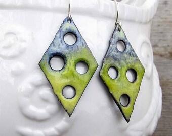 Boho Earrings, Rustic Enamel Jewelry  Funky Earrings Green Artisan Design, Dangle Drop