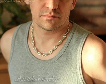 Mens necklace mens jewelry sterling silver chainmaille necklace for men - DNA necklace DNA jewelry spiral heavy chain men fashion