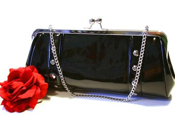 Black Vinyl Clutch, Patent Vinyl, Retro Clutch, Rockabilly Bag - MADE TO ORDER