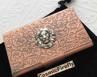 Copper Lion Business Card Case Steampunk Card Case Card Holder Gothic Victorian Style Card Case Handcrafted Card Case Small Silver Lion Head
