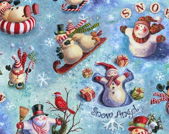 Christmas Fabric, Snowman Fabric, Xmas Fabric, Birds Fabric, Glitter Fabric, Quilting Fabric, Decor/Diy/Craft Supplies/Sewing Supplies