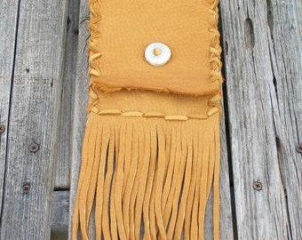 Fringed belt bag , Fringed leather hip bag , Leather phone case